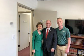 USFSM student Lukas Oest, right, and USF President Dr. Judy Genshaft met with state Sen. Ed Hooper.