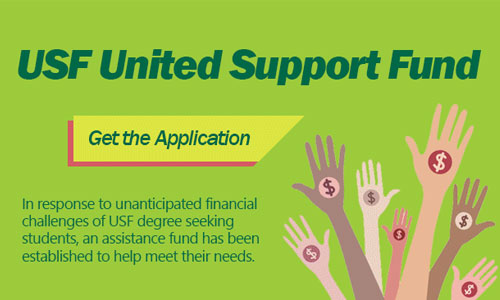 USF United Support Fund: Assistance is available to help students facing unanticipated financial challenges